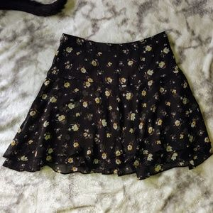 Black & yellow Floral Skirt